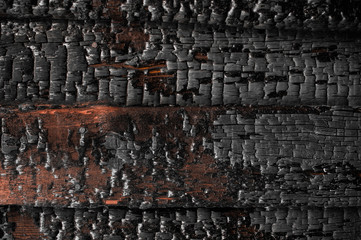Keuken foto achterwand Brandhout textuur Abstract background with a burned boards texture closeup. Burned scratched hardwood surface. Charred wood plank background. Dark burned wooden texture empty horizontal surface, copy space.