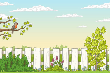 Wall Mural - Spring landscape with bird and flowers. Hand drawn vector illustration with separate layers.