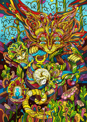 """Illustration of the """"Keepers of the cat's dreams."""" Abstraction symbolism psychedelic art."""