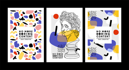 Obraz Modern abstract cards with ancient sculptures. Set of vector banners in trendy contemporary style. - fototapety do salonu