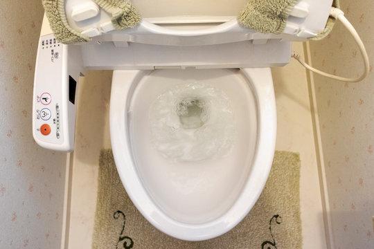 トイレで水を流す