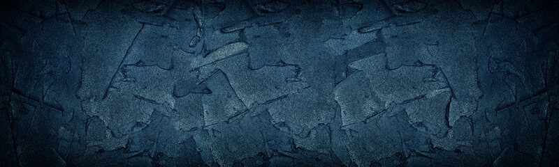 Navy blue cement strokes panoramic texture. Large wide dark grungy wall background Wall mural