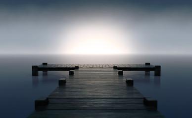 Pier On Sunrise Horizon