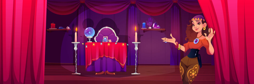 Fortuneteller gypsy woman invite at her mystical room with magic attributes for occultism crystal ball, tarot cards and burning candles, fortune-telling, future prediction Cartoon vector illustration