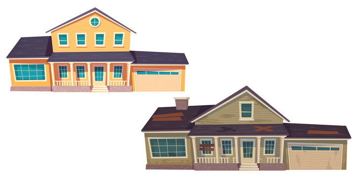 Old broken slum house and new cottage. Abandoned dilapidated building with boarded up windows and modern suburban home with garage. Vector cartoon wooden houses isolated on white background