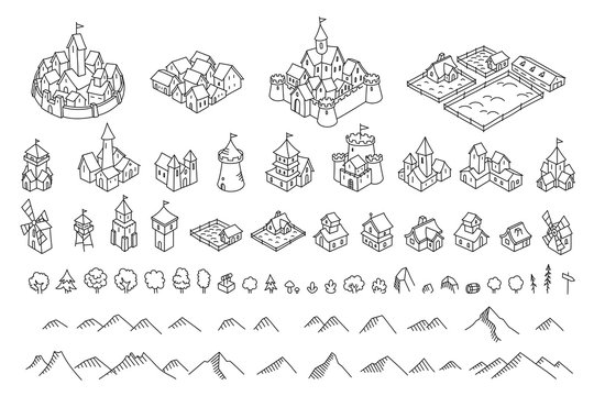 Middle Ages city map kit. Buildings set. Medieval fantasy sketch. Mountains and trees. Selection for board game. Hand drawn vector black line.