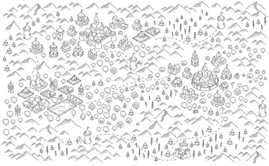 Medieval city, fantasy area map sketch. Mountain river and village buildings. Middle Ages map for board game. Hand drawn vector black line.