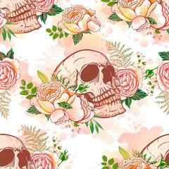 Vintage skull in roses, seamless pattern.