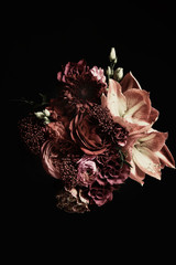 Canvas Prints Floral Beautiful bouquet of different flowers on black background. Floral card design with dark vintage effect