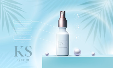 Vector 3D elegant cosmetic products background premium oil spray for skin care products. Luxury facial cream. Cosmetic ads flyer or banner design. Blue cosmetic cream template. Makeup products brand.