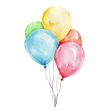 Colorful balloons; watercolor hand draw illustration; with white isolated background