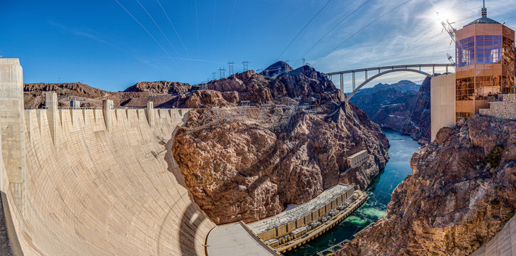 View from Hoover Dam over Colorado river with Mike O Callaghan–Pat Tillman Memorial Bridge in the evening