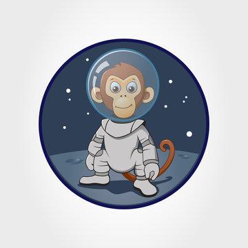 astronaut monkey at the moon, vector cartoon illustration