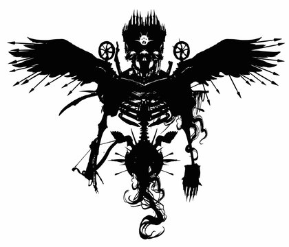 An ominous three-eyed demon skeleton, with a crossbow and spikes all over the body, with spears protruding from feathers, in a crown, soars on black wings. 2d illustration