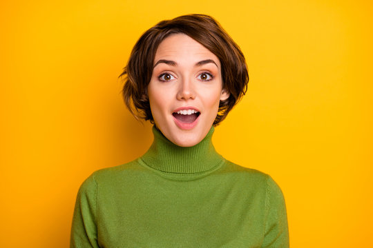 Really. Closeup photo of funny short hairdo lady good mood listen positive news open mouth wear casual green turtleneck warm sweater isolated yellow color background