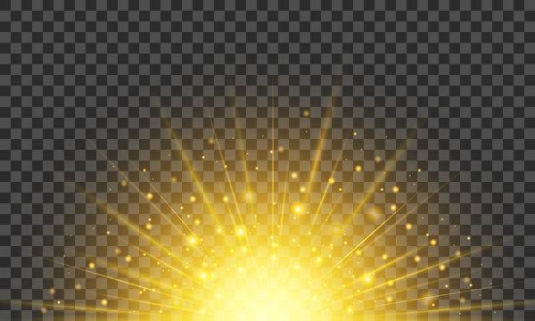 Sun on a transparent background. Bright sunshine. Firework effect. Vector illustration