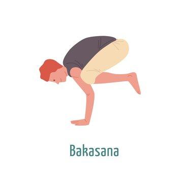 Cartoon man demonstrating bakasana position vector flat illustration. Smiling male yogi practicing crane pose isolated on white. Flexible guy showing workout physical exercise