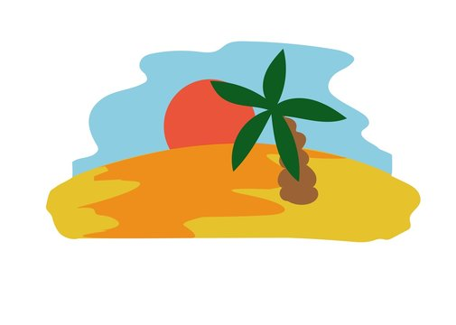 wyspa, krajobraz, palma, ocean, morze, piasek, zachód słońca, pustynia, susza, ciepło, wakacje, urlop, wycieczka, obrazek, plakat, ozdoba, naklejka, pieniądze