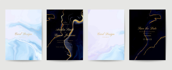 Fotobehang - Wedding Invitation, Thank you Card, rsvp, posters, modern card Design Collection. Trendy indigo Marble background, Marbling texture design in navy blue ,green turquoise and golden texture vector