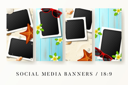 Set of social media banners. Vector illustration social medai posts with blank photo frames on beach sand and wooden texture. Summer cards with seashells and tropical flowers. Mockup templates.