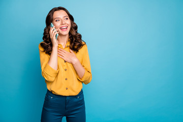 Fototapete - Portrait of her she nice attractive charming pretty cheerful cheery wavy-haired girl calling home discussing news isolated over bright vivid shine vibrant green blue turquoise color background