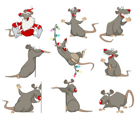 Canvas Prints Baby room Vector Set Illustration of Cute Cartoon Character Rat for you Design and Computer Game
