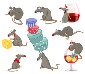 Vector  Set Illustration of  Cute Cartoon Character Rat for you Design and Computer Game