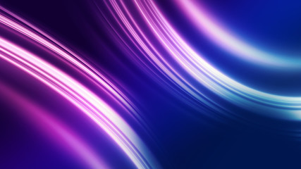 In de dag Fractal waves Dark blue abstract background with ultraviolet neon glow, blurry light lines, waves