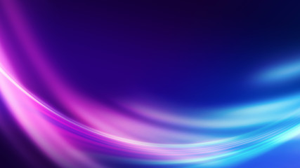 Spoed Fotobehang Fractal waves Dark blue abstract background with ultraviolet neon glow, blurry light lines, waves