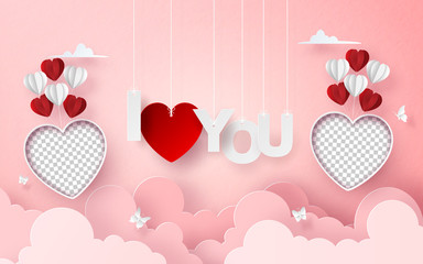 Origami Paper art of blank photo balloon on the sky with letter I LOVE YOU , Romantic Valentine Day