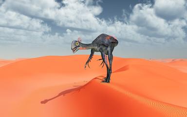 Dinosaurier Gigantoraptor in einer Sandwüste