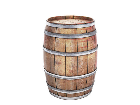 Wooden barrels isolated on white background 3d illustration on white no shadow
