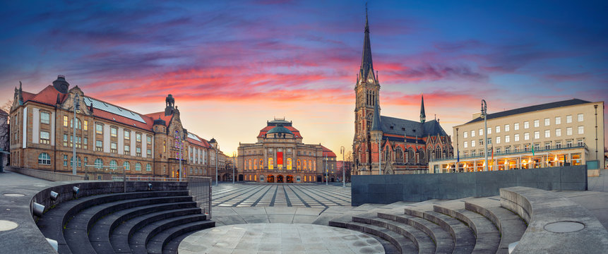Chemnitz Germany. Panoramic cityscape image of Chemnitz, Germany with Chemnitz Opera and St. Petri Church during beautiful sunset.