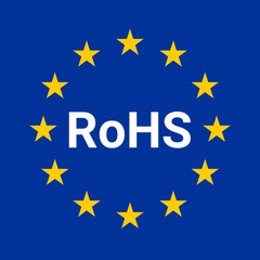 Rohs compliant directive sign illustration with the European flag