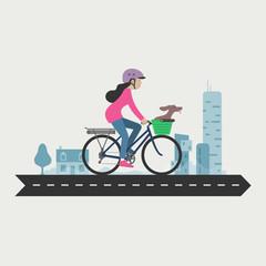 Woman cycling commuter, e-bike, Electric bicycle