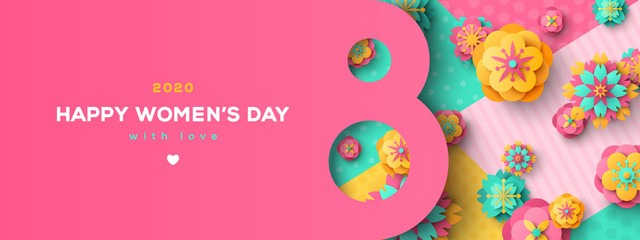 Women's Day greeting card or banner with eight shaped frame and paper cut flowers on colorful modern geometric background. Vector illustration. Place for text. March 8 holiday.