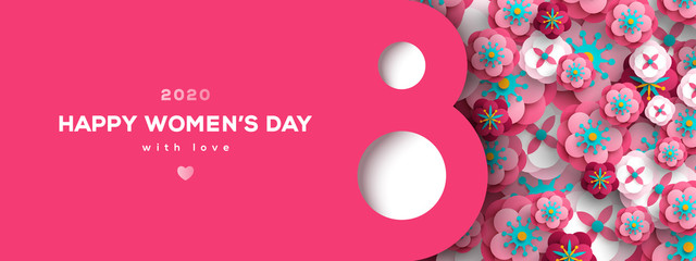 Women's Day greeting card or banner with eight shaped frame and paper cut flowers. Vector illustration. Place for text. March 8 holiday.