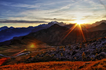 beautiful sunset view on the top of mountain