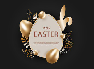 Happy Easter, easter bunny, easter background, easter banners, easter flyer, easter design. Abstract silver easter egg on black background. Vector eps10 illustration