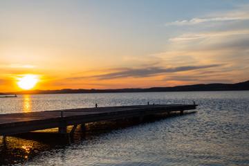 Holzsteg am Brombachsee Sonnenuntergang