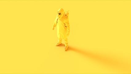Yellow Corona Virus Hazmat Suit with Gas Mask 3d illustration 3d render
