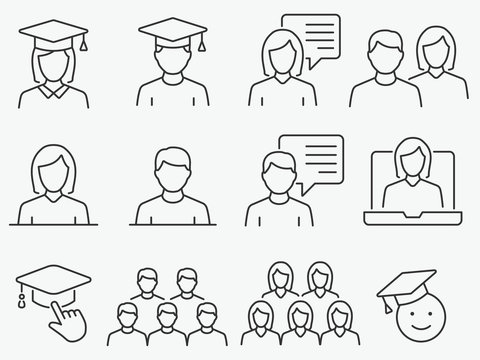 Students line icons set. Black vector illustration. Editable stroke.