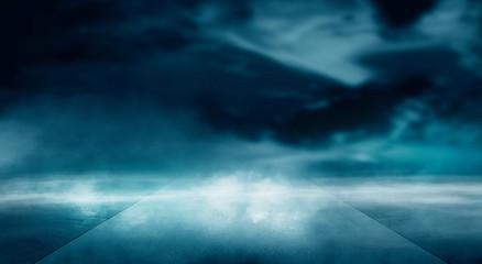 Foto auf AluDibond Blau türkis Futuristic landscape, abstract night landscape. Dark horizon Modern futuristic neon abstract background. Large object in the center, space background. Dark scene with neon light.