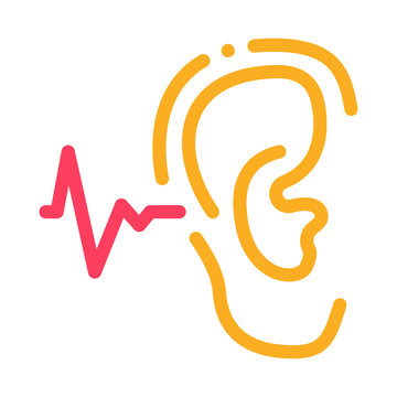 Making Sounds By Ear Icon Vector. Outline Making Sounds By Ear Sign. Isolated Contour Symbol Illustration