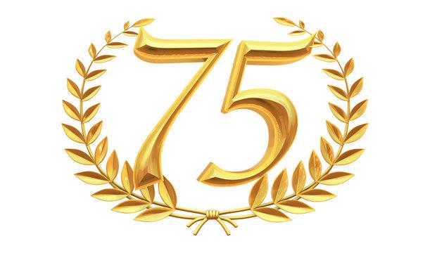 75 years anniversary celebration logotype with elegant celebration 3d.