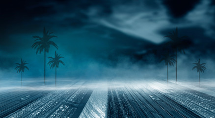 Fotomurales - Futuristic night landscape with abstract landscape and island, moonlight, shine. Dark natural scene with reflection of light in the water, neon blue light. Dark neon background.
