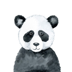 Panda - watercolor illustration isolated on white background. Hand drawn baby panda bear character, front view. Black and white, monochrome portrait. Print for t-shirts, apparel, posters, clothes.