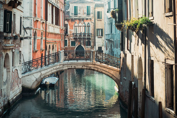 Poster Venice VENICE, ITALY - December 21, 2017 : street view of old buildings in Venice, ITALY