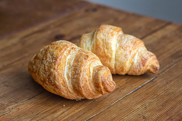 Mini croissants made of puff pastry traditional French Breakfast