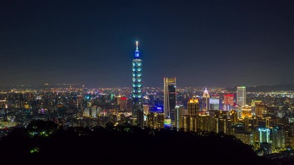 Fototapete - Hyperlapse or Dronelapse Aerial view of Business district in city of Taipei, Taiwan at night